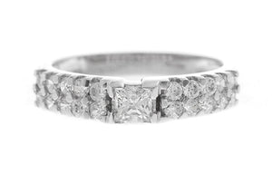 18ct White Gold Cubic Zirconia Engagement Ring and Wedding Band Suite (LR-2406)