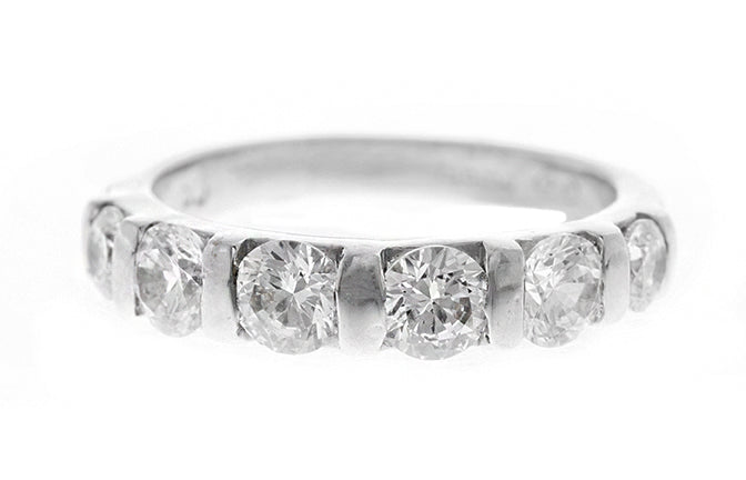 18ct White Gold Cubic Zirconia Half Eternity Ring (5.2g) LR-2419