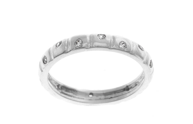 18ct White Gold Cubic Zirconia Wedding Band (3.4) LR-2424