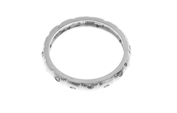 18ct White Gold Cubic Zirconia Wedding Band (LR-2424)