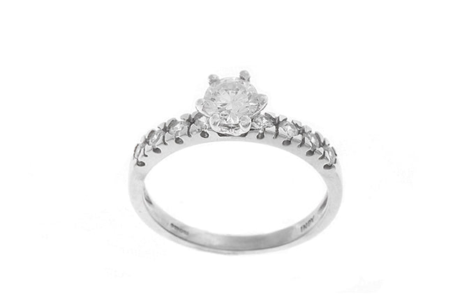 18ct White Gold Cubic Zirconia Engagement Ring (2.9g) LR-2434