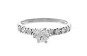18ct White Gold Cubic Zirconia Engagement Ring (LR-2434)