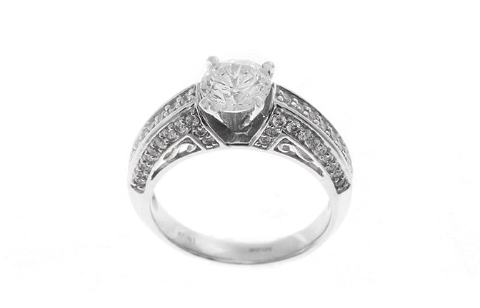 18ct White Gold Cubic Zirconia Engagement Ring and Wedding Band Suite (LR-2437)