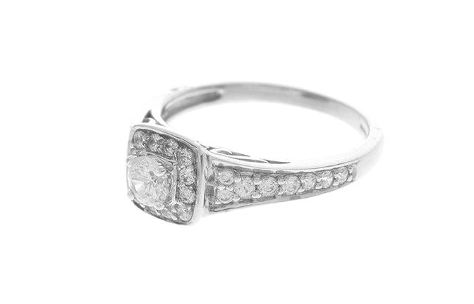 18ct White Gold Cubic Zirconia Engagement Ring (LR-2439)
