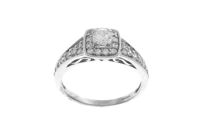 18ct White Gold Cubic Zirconia Engagement Ring (3.1g) LR-2439