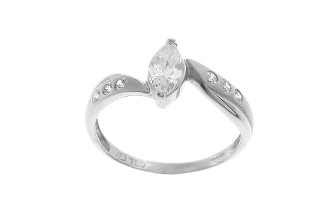 18ct White Gold Cubic Zirconia Dress Ring (LR-2445)