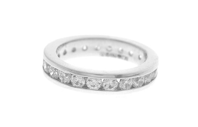 18ct White Gold Cubic Zirconia Full Eternity Ring (3.7g) LR-2477