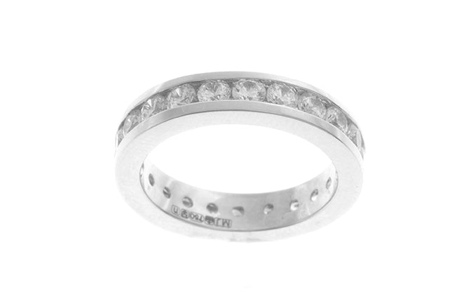 18ct White Gold Cubic Zirconia Full Eternity Ring (LR-2477)
