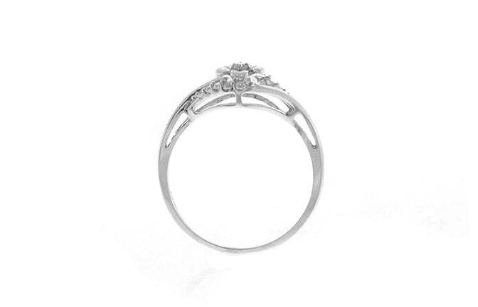 18ct White Gold Dress Ring set with Cubic Zirconias (LR-2478)