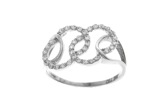 18ct White Gold Cubic Zirconia Dress Ring (LR-2481)