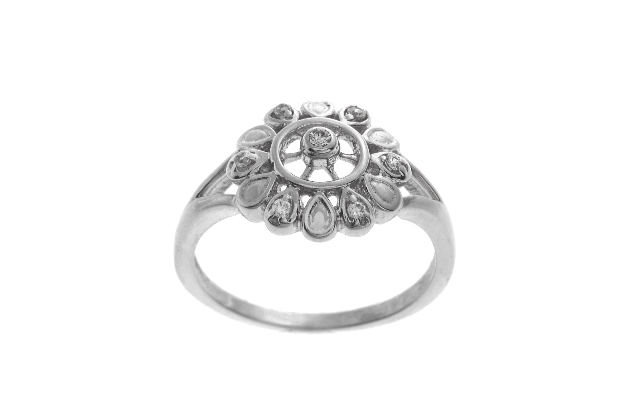 18ct White Gold Dress Ring set with Cubic Zirconias (LR-2503)