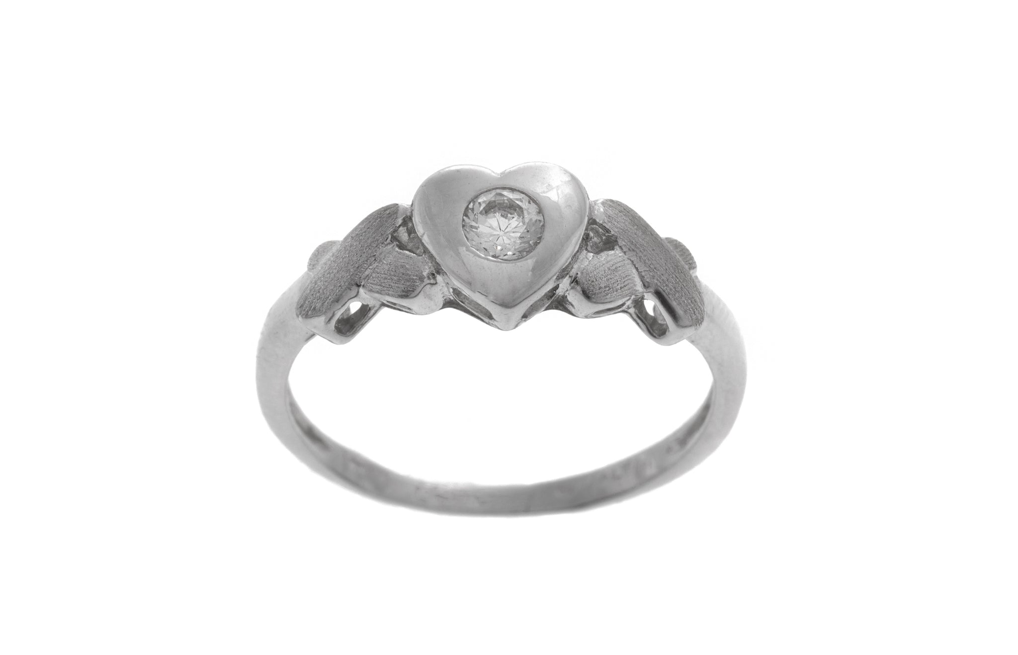 18ct White Gold 'Heart' Dress Ring set with Cubic Zirconias LR-2510