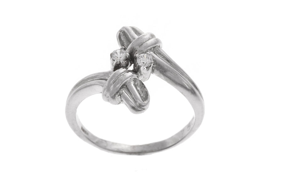18ct White Gold Dress Ring set with Cubic Zirconias (LR-2511)