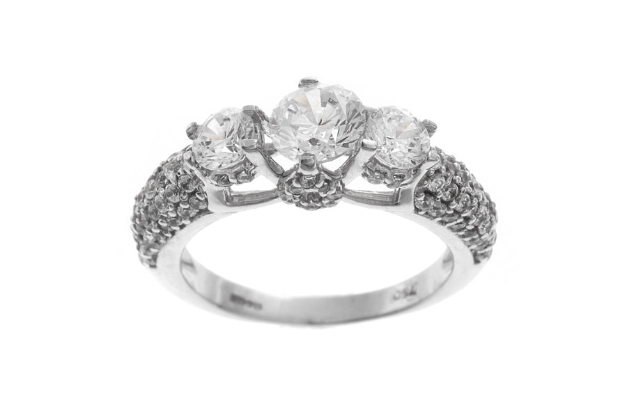 18ct White Gold Cubic Zirconia Trilogy Ring (LR-2525)