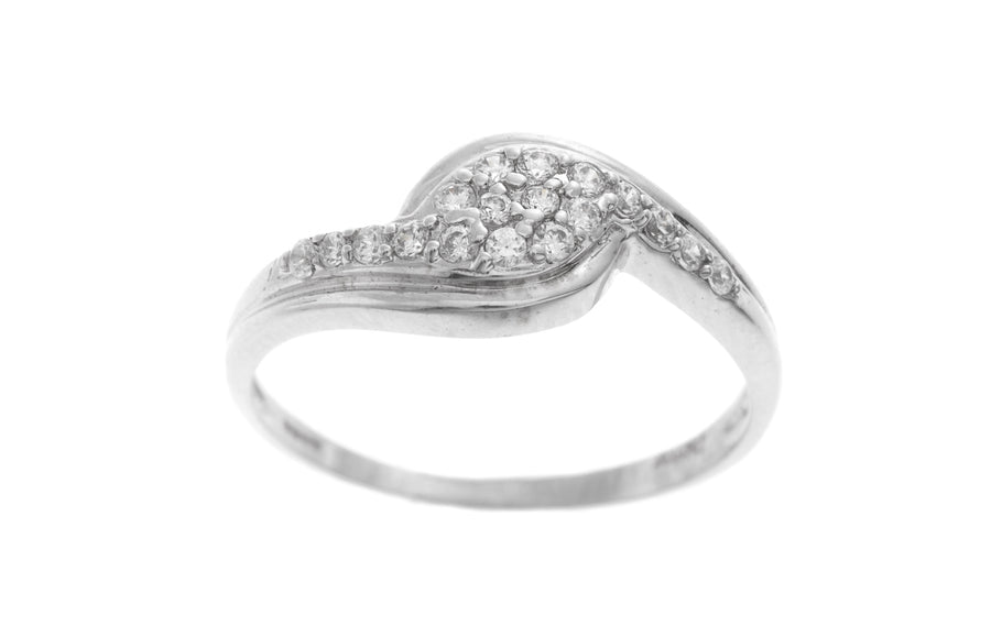 18ct White Gold Cubic Zirconia Dress Ring (LR-2533)