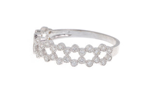 18ct White / Yellow Gold Cubic Zirconia Half Eternity Ring (LR-2867)