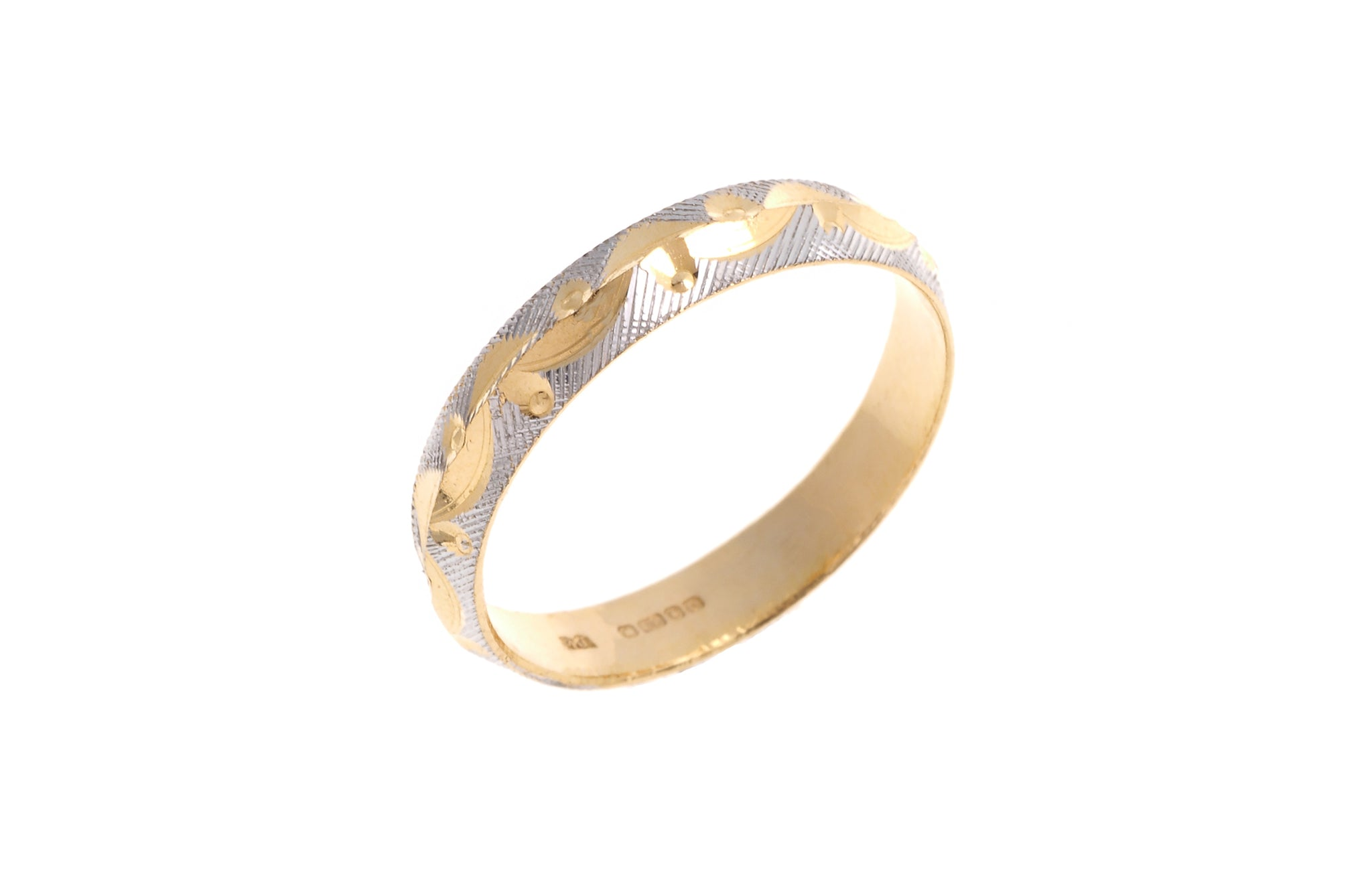 22ct Gold Wedding Band with Rhodium Design (2.6g) LR-3560