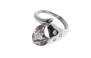 18ct White Gold Cubic Zirconia Dress Ring (LR-3658)