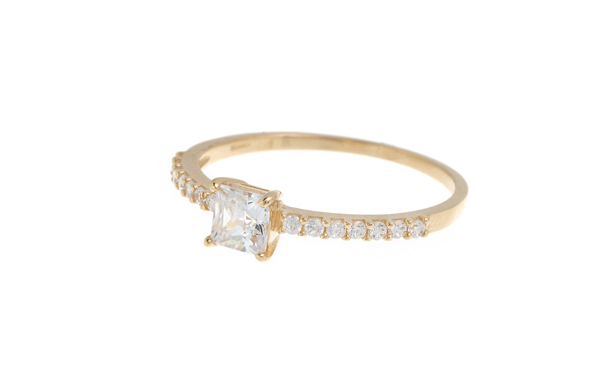 18ct White / Yellow Gold Cubic Zirconia Engagement Ring (LR-3830) (online price only)
