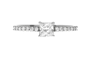 18ct White / Yellow Gold Cubic Zirconia Engagement Ring (LR-3830)