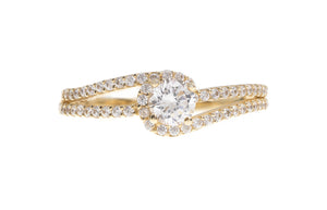 18ct White / Yellow Gold Cubic Zirconia Engagement Ring (LR-3842) (online price only)