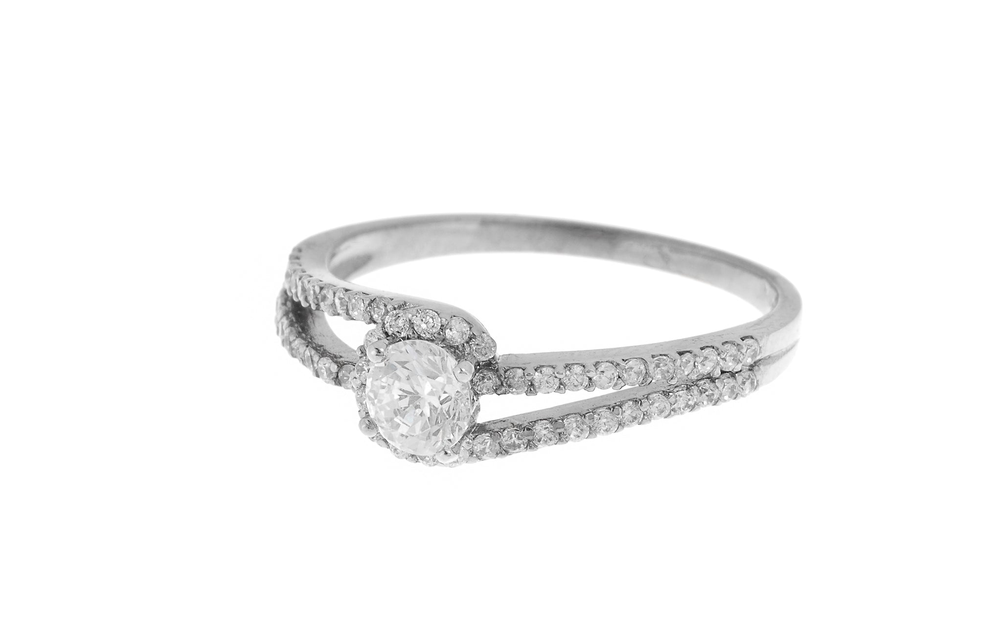 18ct White / Yellow Gold Cubic Zirconia Engagement Ring (LR-3842)