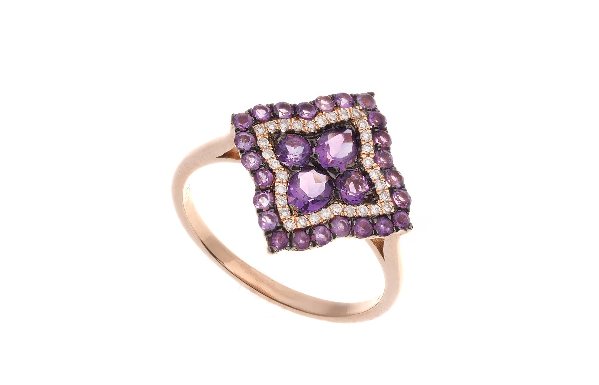 18ct Rose Gold Amethyst & Diamond Dress Ring, Minar Jewellers - 3