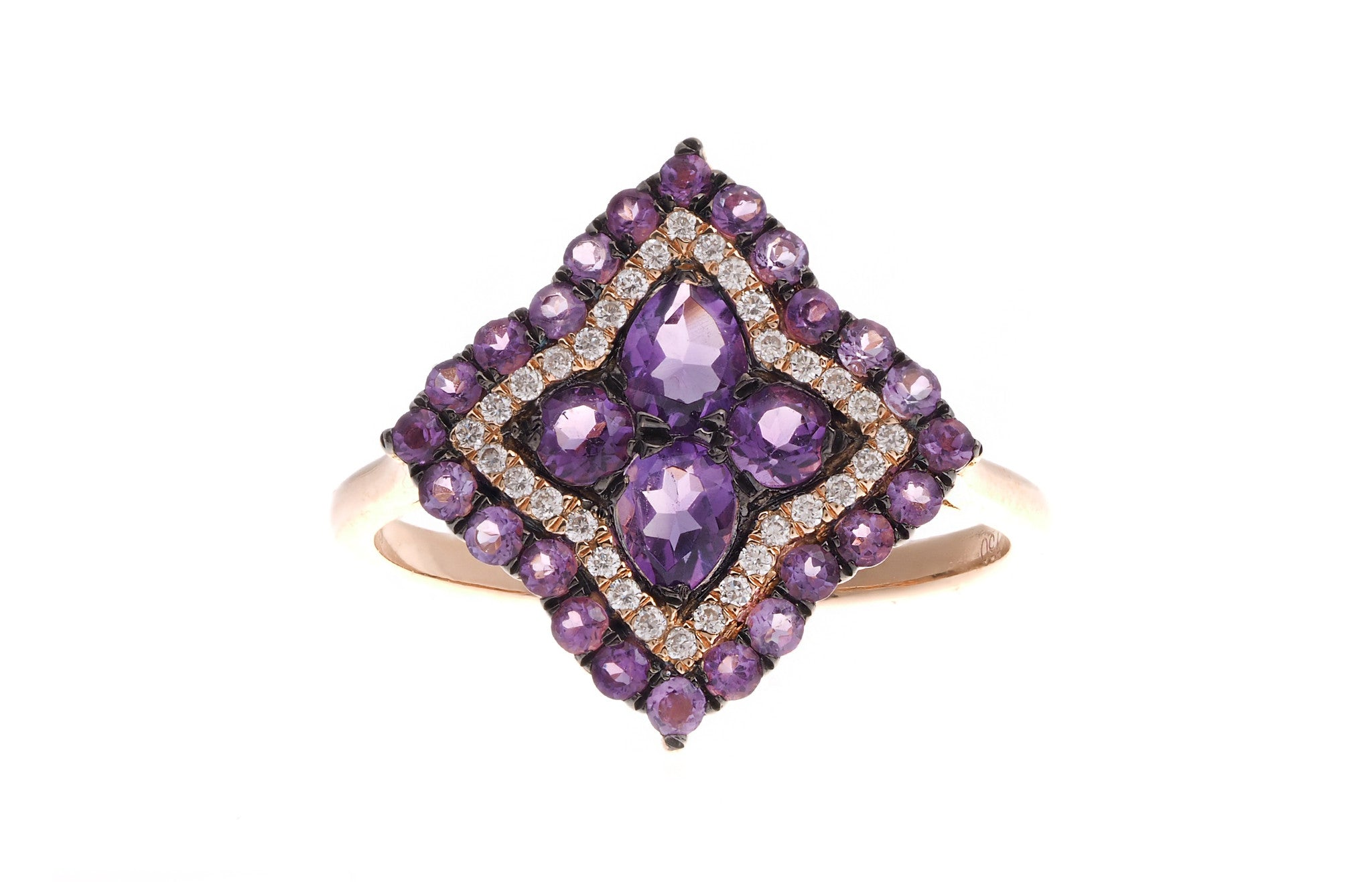 18ct Rose Gold Amethyst & Diamond Dress Ring, Minar Jewellers - 4