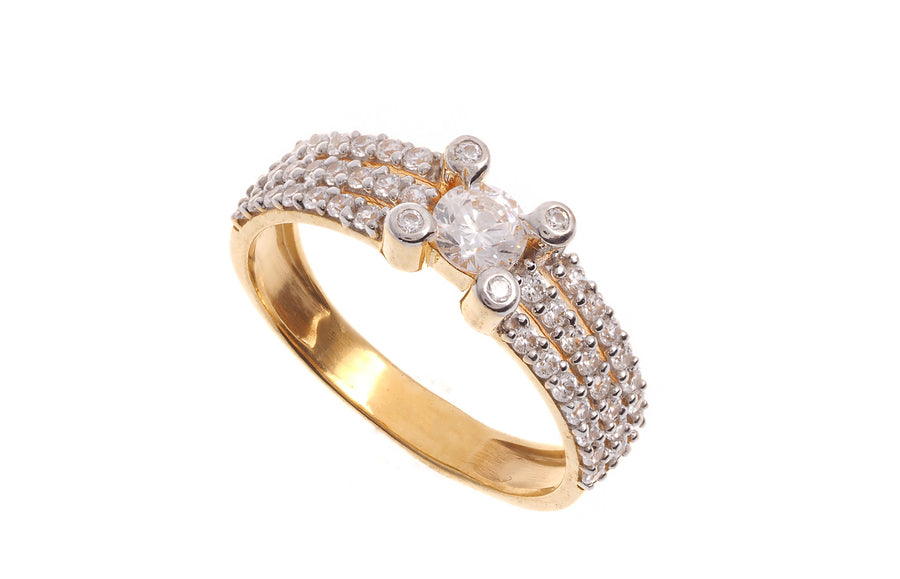 22ct Gold Cubic Zirconia Dress Ring LR14138