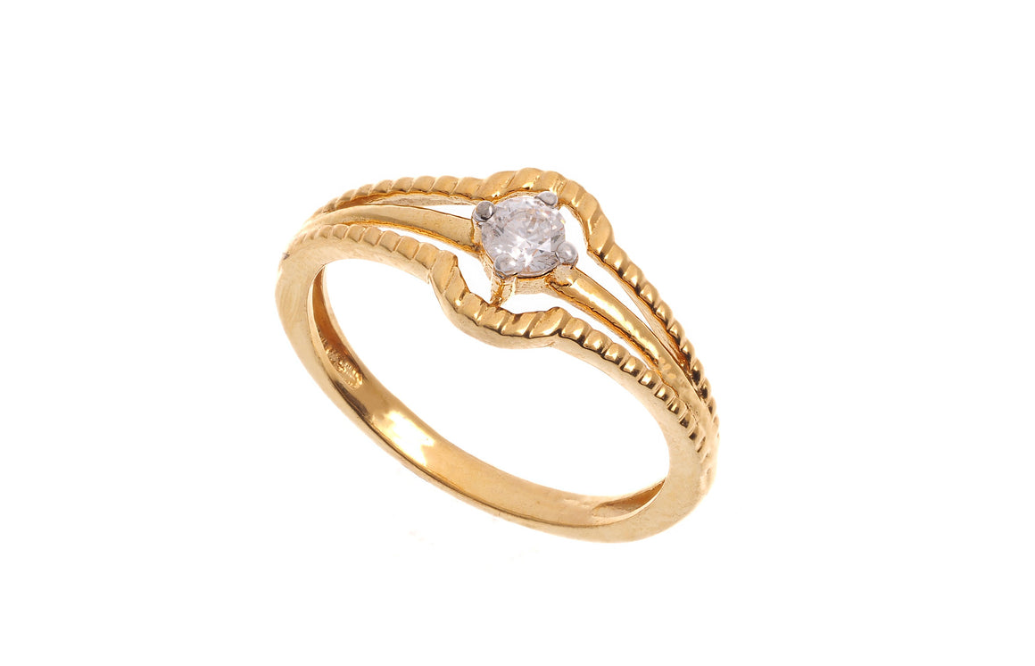 22ct Yellow Gold Cubic Zirconia Dress Ring (LR15118)
