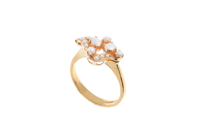 22ct Yellow Gold Cultured Pearl Dress Ring (LR-4217) (online price only)