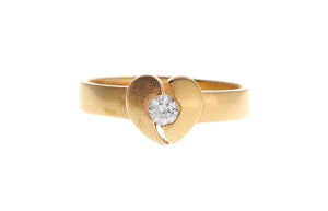 22ct Yellow Gold Cubic Zirconia Heart Ring (LR-4322_B)