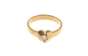 22ct Yellow Gold Cubic Zirconia Heart Ring (LR-4322_C)