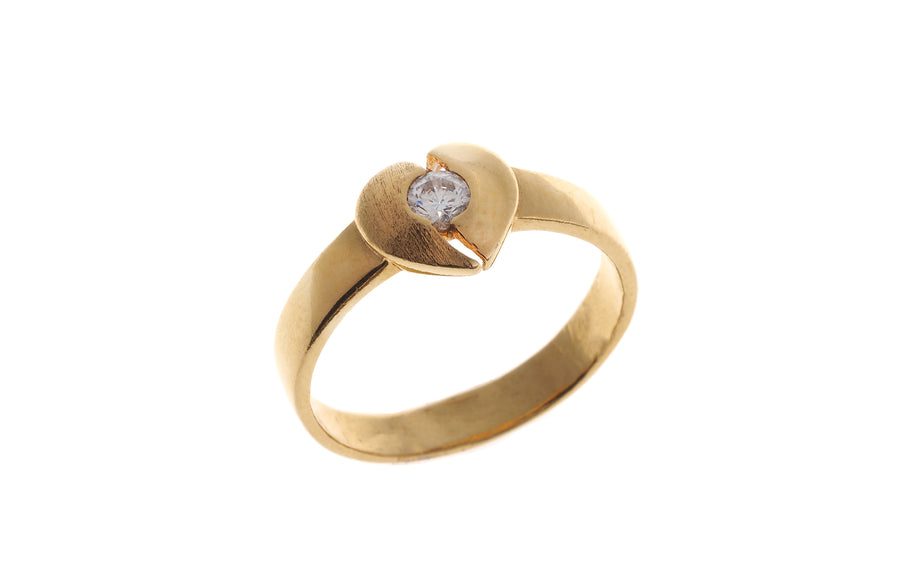 22ct Yellow Gold Cubic Zirconia Heart Ring (LR-4322)