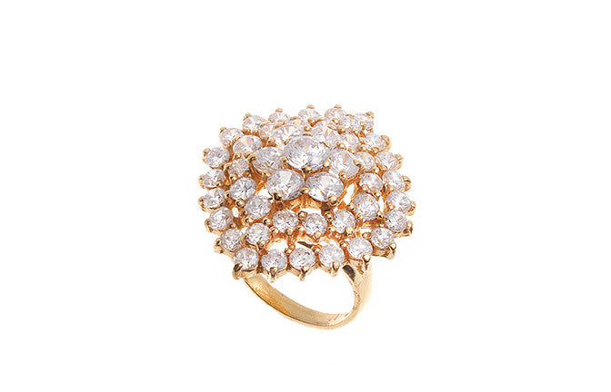 22ct Yellow Gold Cubic Zirconia Dress Ring (LR-5194)