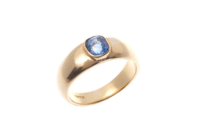 22ct Yellow Gold Blue Sapphire Rub Over Setting Dress Ring (LR-6585)