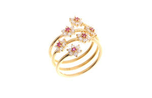 22ct Yellow Gold Cubic Zirconia Coil Ring (LR-6913)