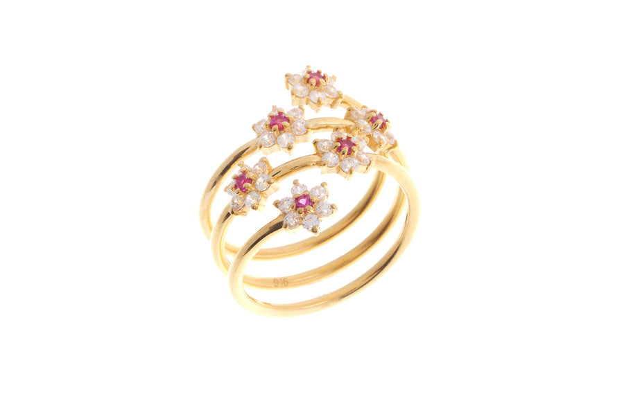 22ct Gold Cubic Zirconia Coil Ring LR-6913