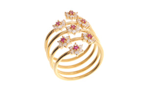22ct Yellow Gold Cubic Zirconia Coil Ring (LR-6914)