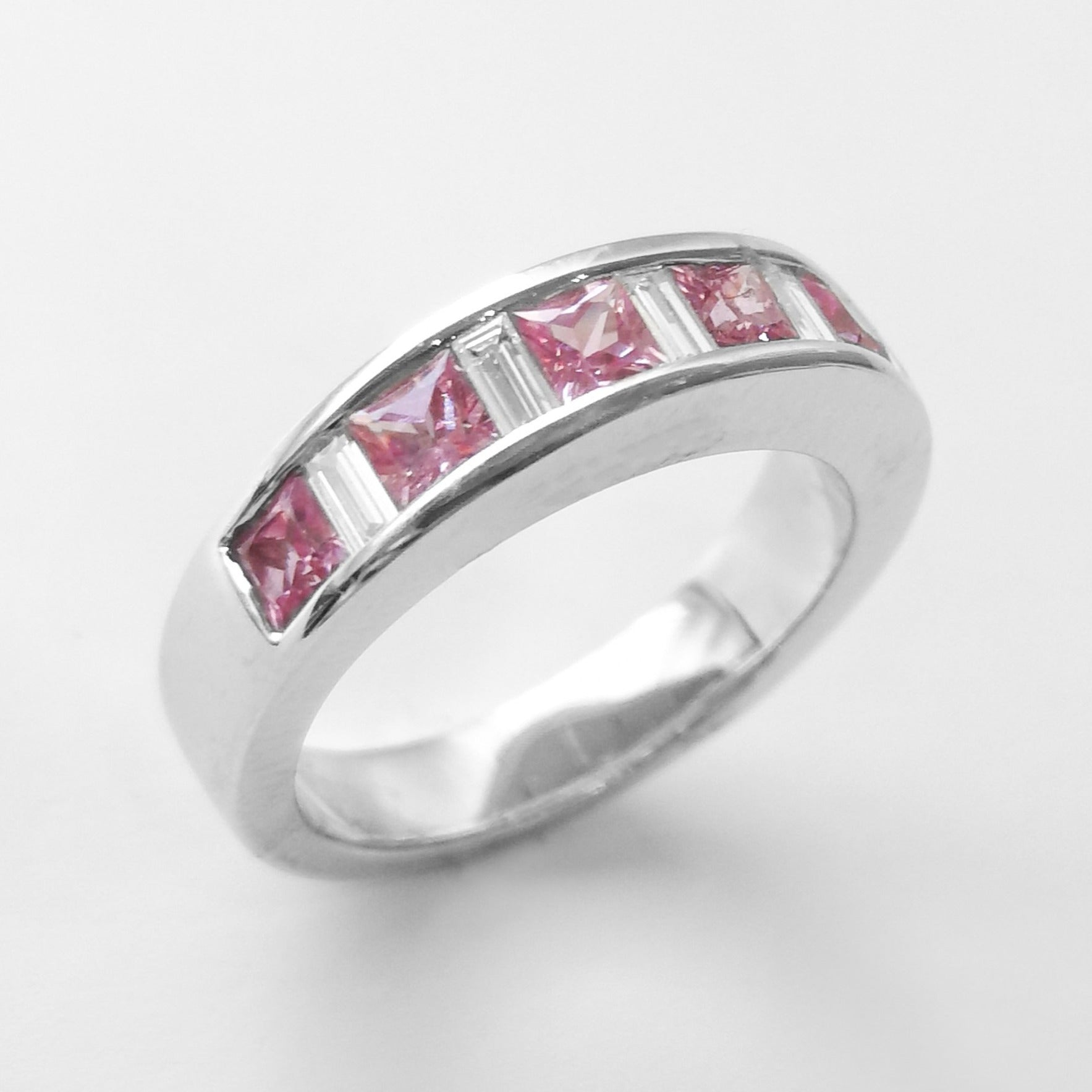 Eternity Ring in 18ct White Gold set with Pink Stones (5.2g) LR-7029