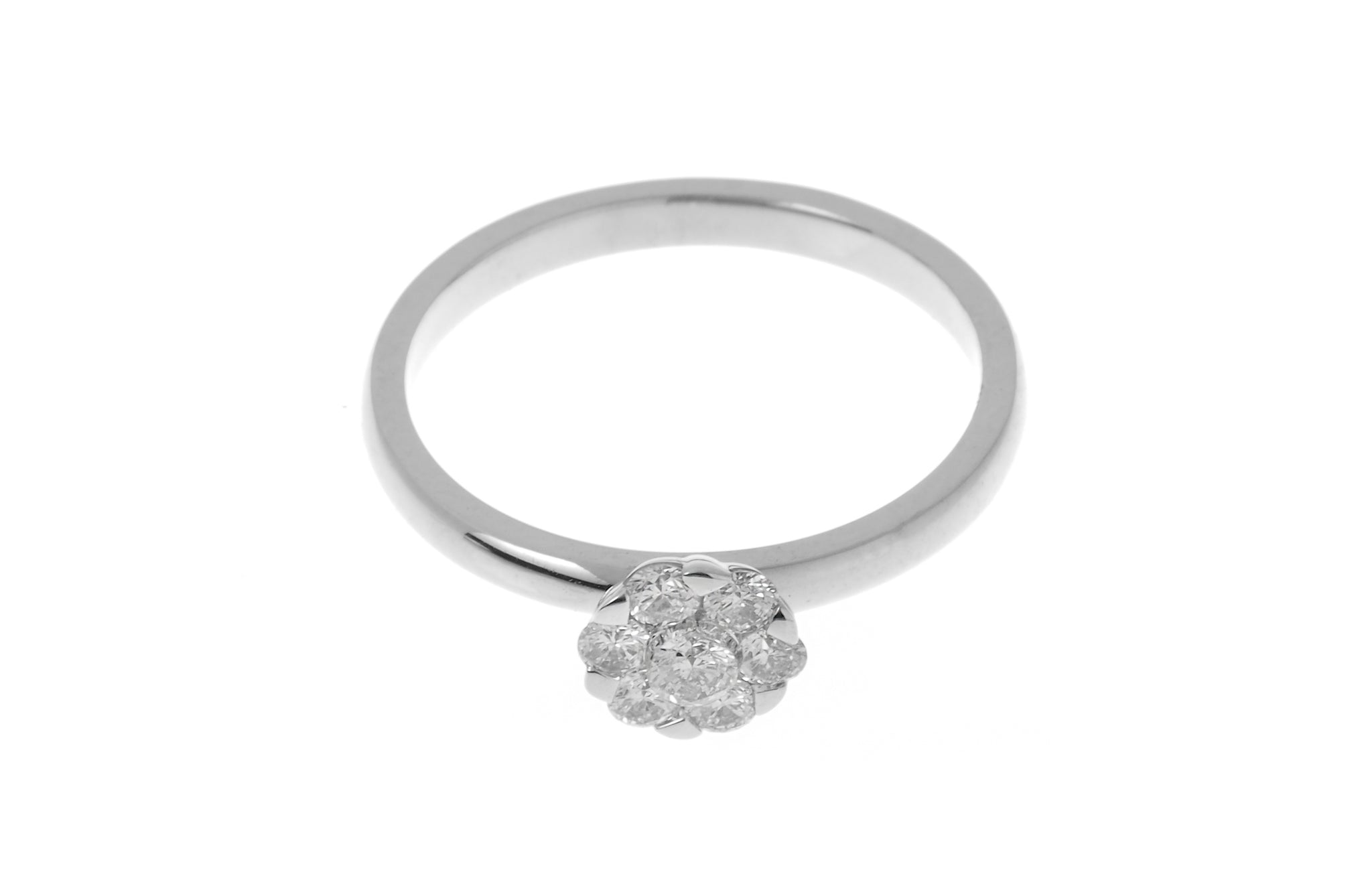 18ct White Gold Diamond Cluster Engagement Ring (LR-7221)