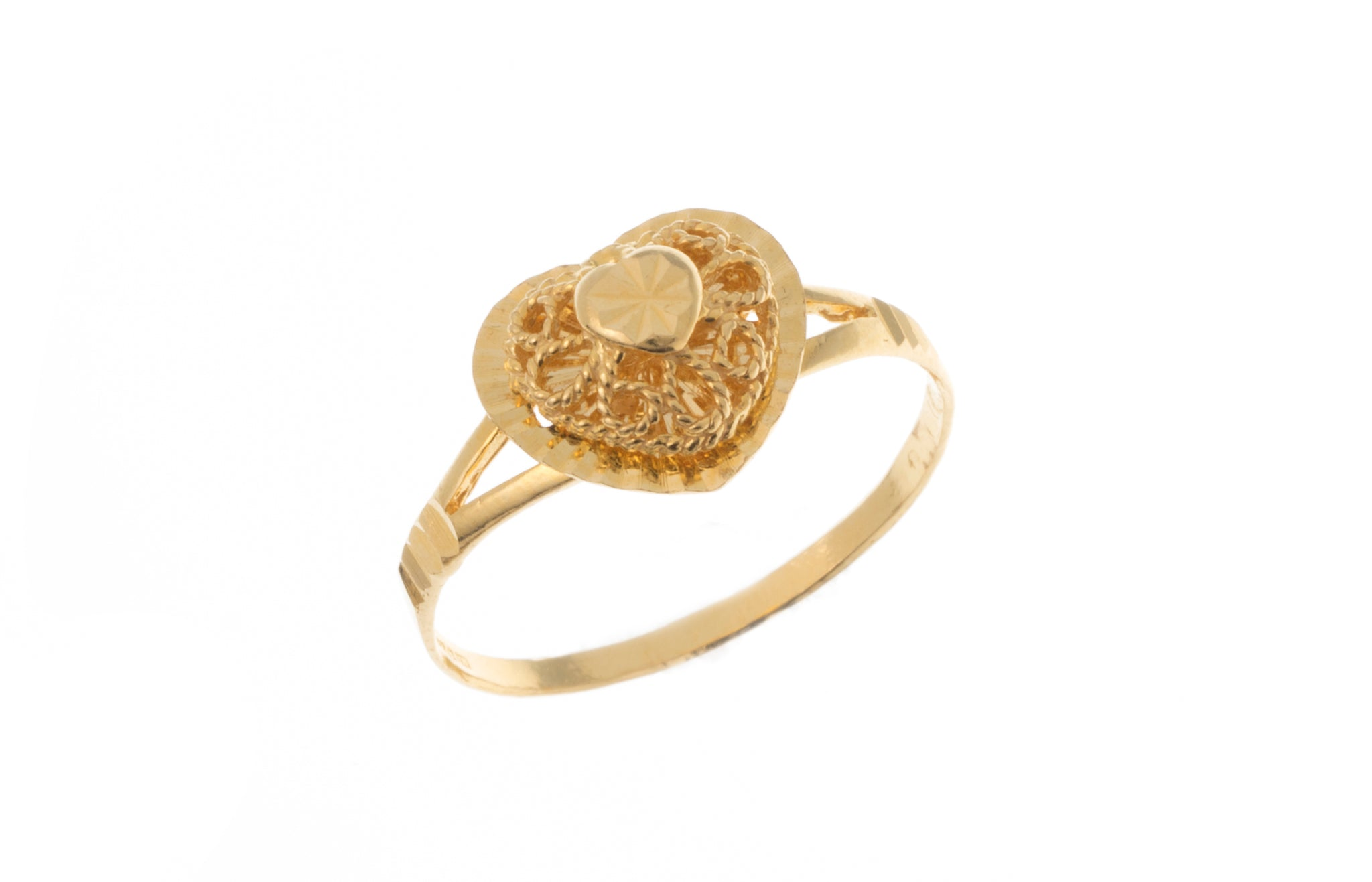 22ct Gold Ring with Filigree Heart Design (1.9g) LR-7344