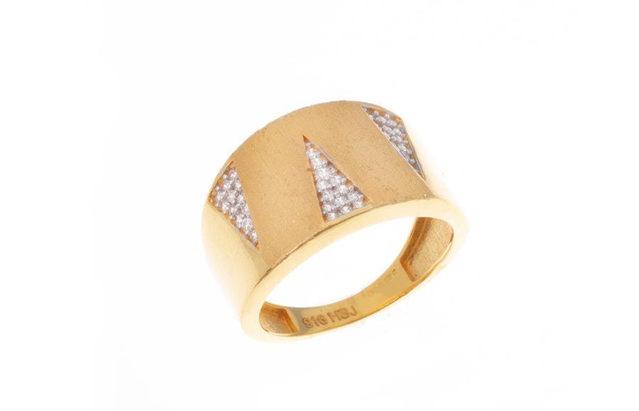 22ct Gold Cubic Zirconia Dress Ring with Satin Finish (5g) LR-7349