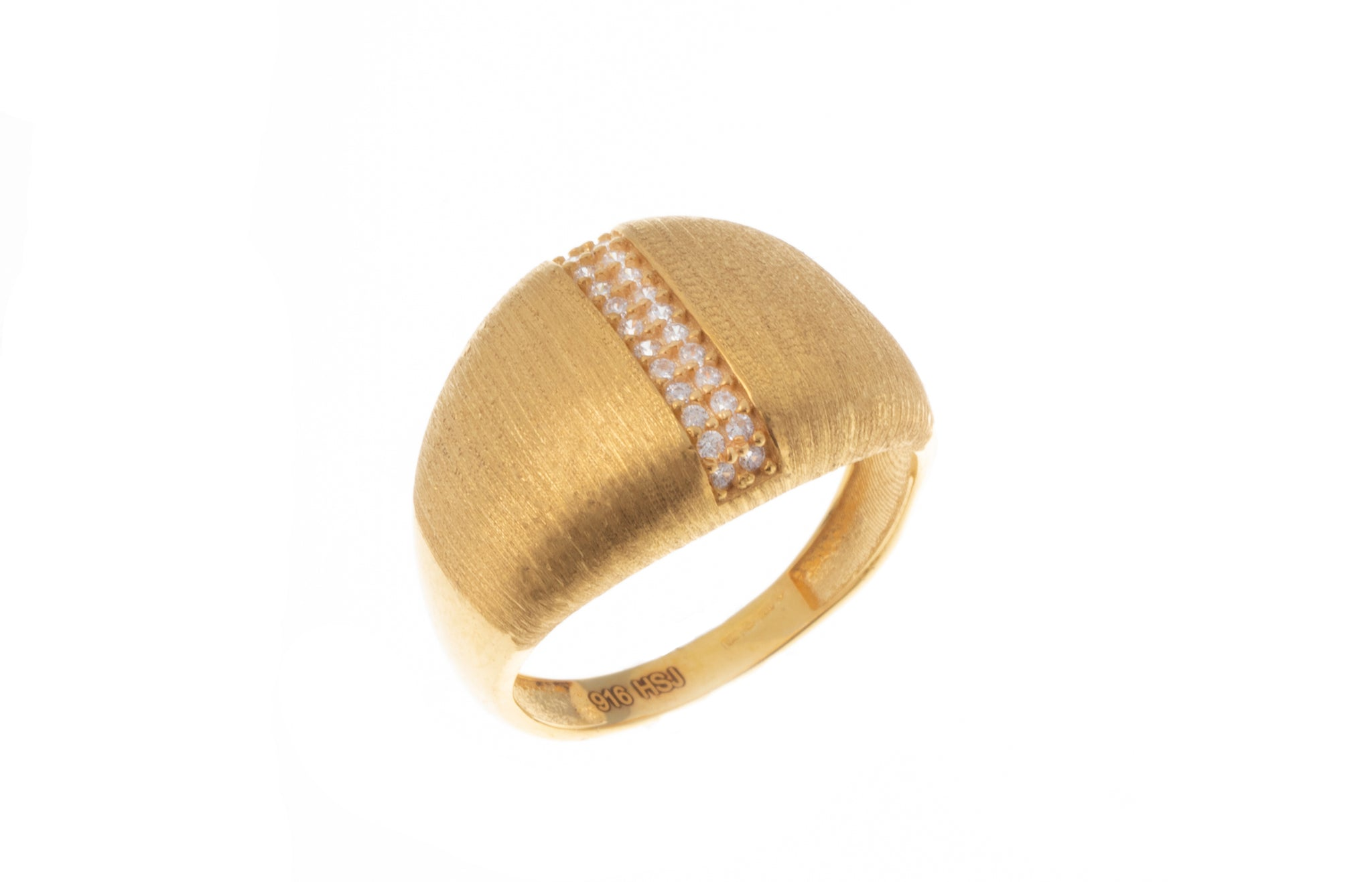 22ct Gold Cubic Zirconia Dress Ring with Satin Finish (4.5g) LR-7350