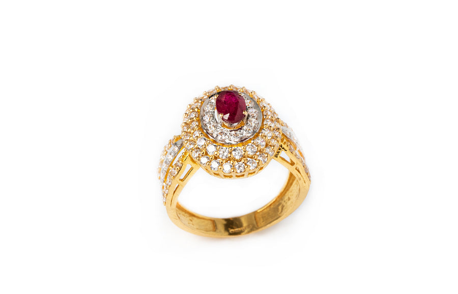 22ct Gold Dress Ring set with red and white Cubic Zirconias (6.78g) LR-7801