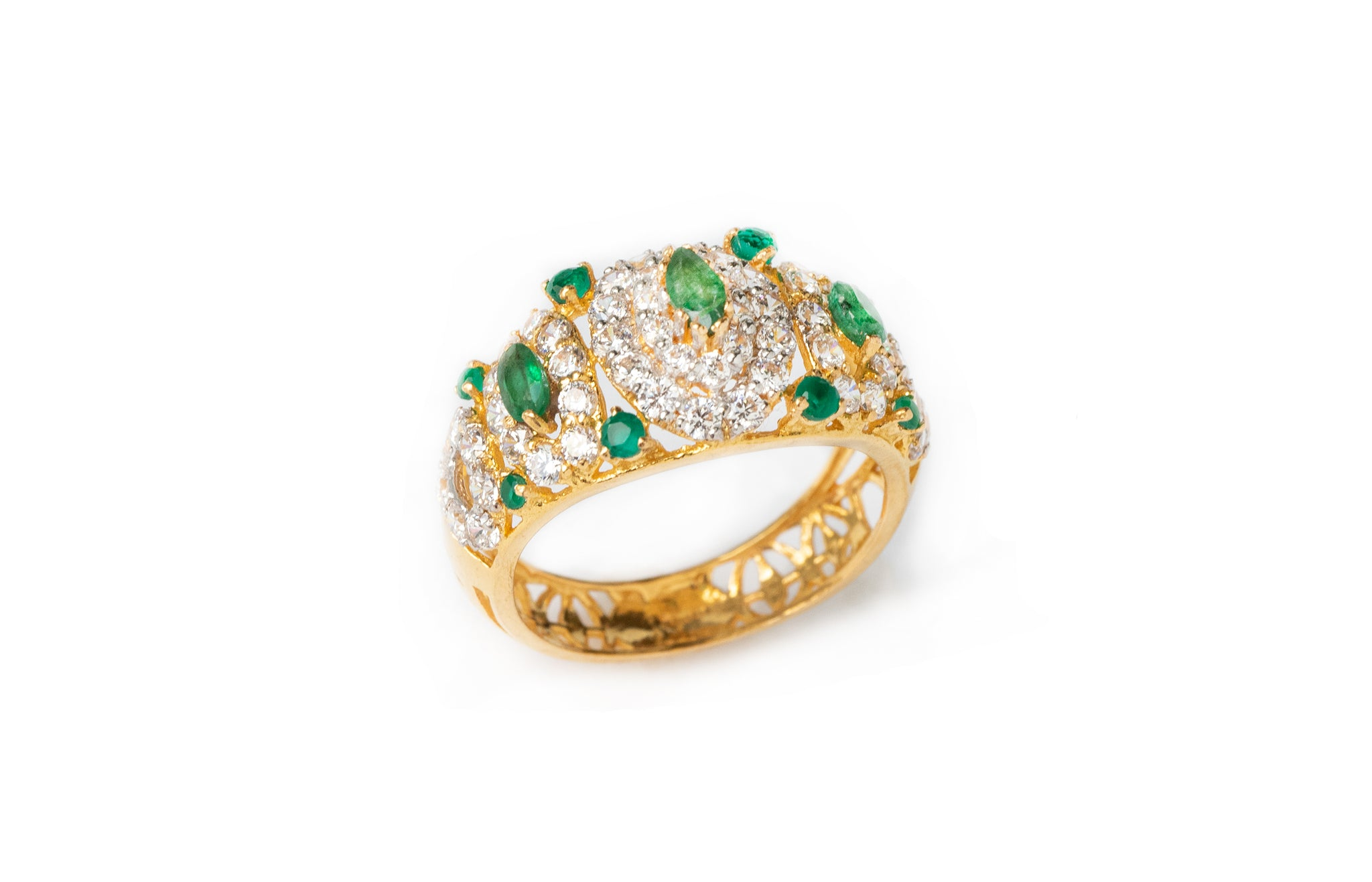 22ct Gold Dress Ring set with green and white Cubic Zirconias (5.3g) LR-7802
