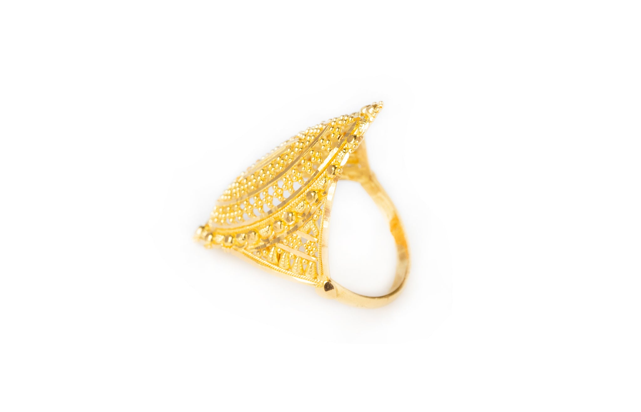 22ct Gold Filigree Dress Ring (6g) LR-7804