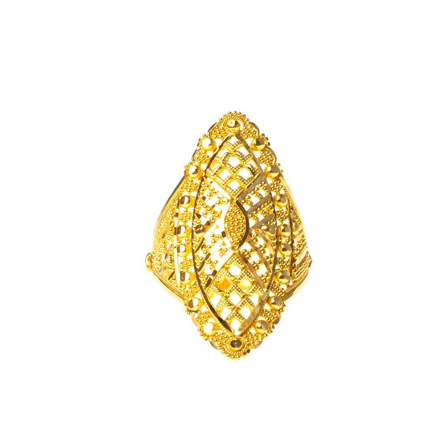 22ct Gold Filigree Dress Ring (5.8g) LR-7818