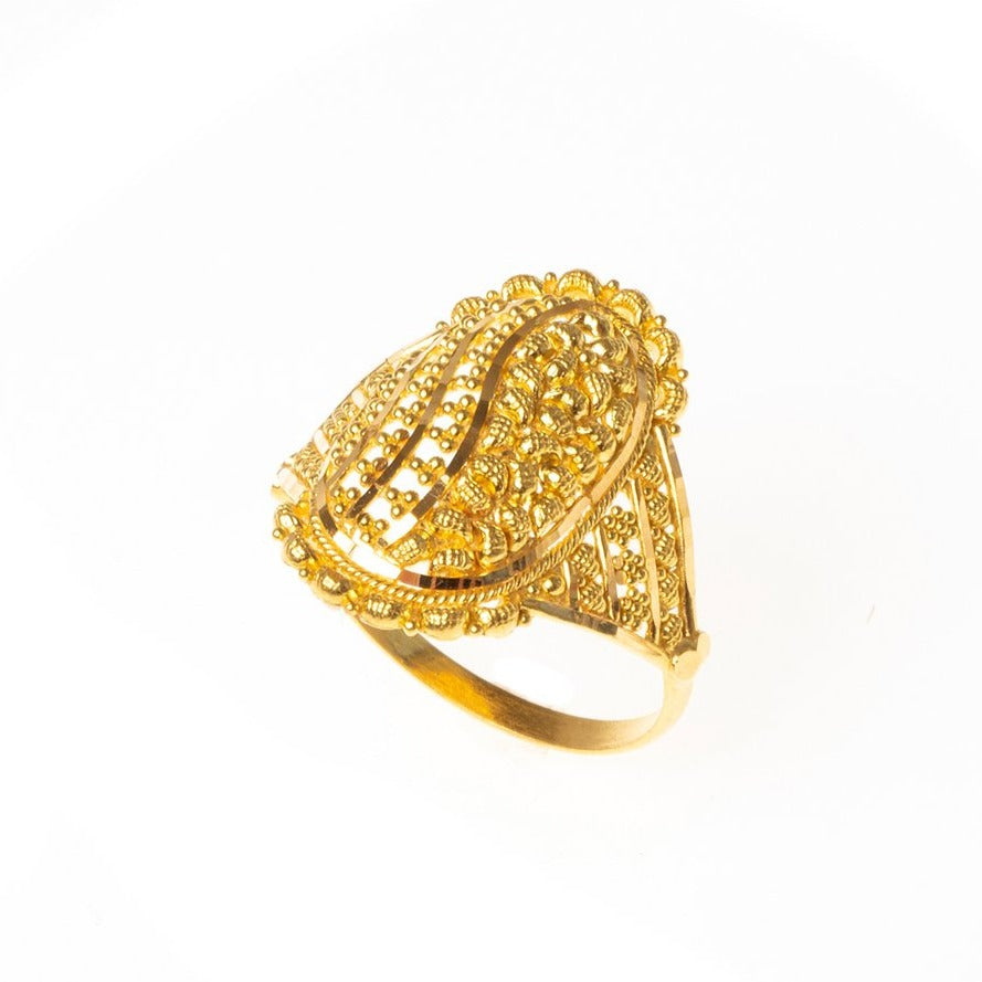 22ct Gold Filigree Dress Ring (3.9g) LR-7821