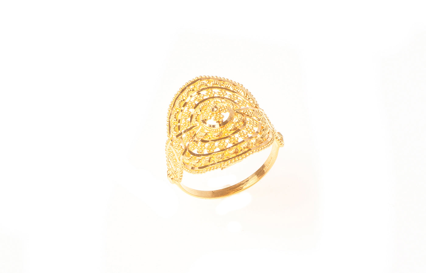 22ct Gold Filigree Dress Ring (3.9g) LR-7822